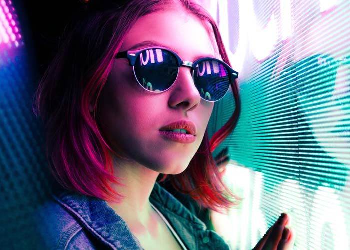 woman, neon sign, light, and sunglasses