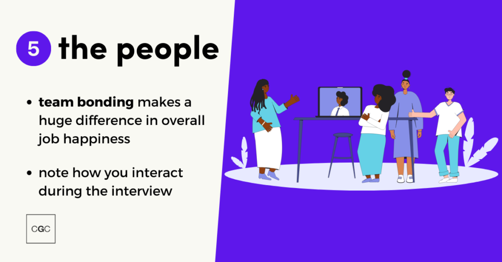 """Infographic: """"The People: team bonding can increase workplace happiness, note how you interact during the interview"""""""